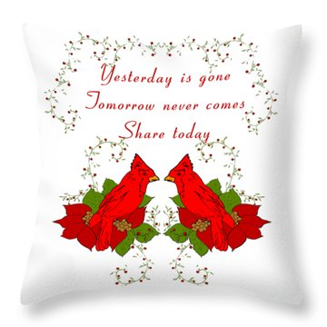 Throw Pillow featuring the mixed media Cardinal Thoughts by Belinda Landtroop