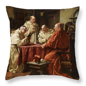 Cardinal With Monks Throw Pillow by Fritz Wagner