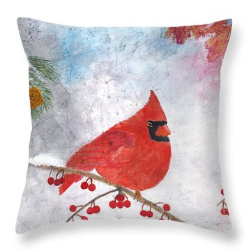 Cardinal With Red Berries And Pine Cones Throw Pillow