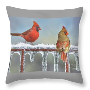 Cardinals And Icicles Throw Pillow by Janette Boyd