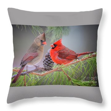 Cardinals In Pine Throw Pillow