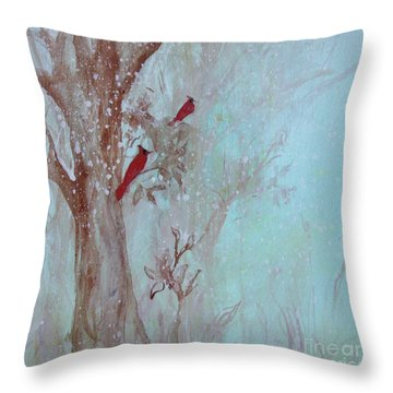 Throw Pillow featuring the painting Cardinals In Trees Whilst Snowing by Robin Maria Pedrero