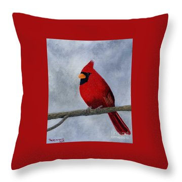 Cardnial Throw Pillow