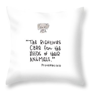 Throw Pillow featuring the drawing Care For Animals by Nancy Ingersoll