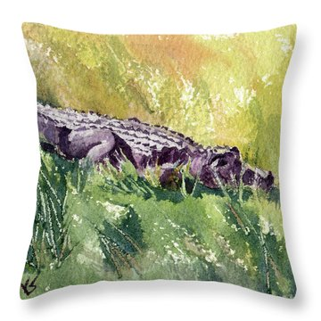 Carefree Carnivore Throw Pillow by Kris Parins