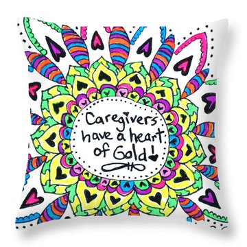 Caregiver Flower Throw Pillow