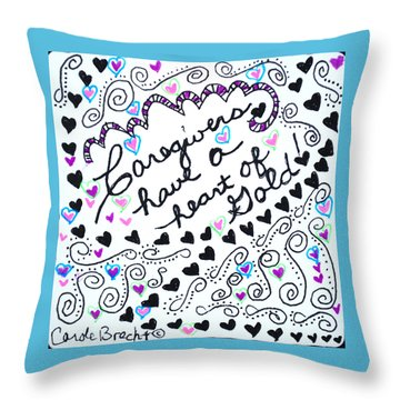 Caregiver Hearts Throw Pillow