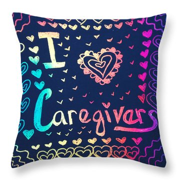 Caregiver Rainbow Throw Pillow
