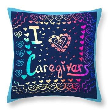 Caregiver Rainbow Throw Pillow