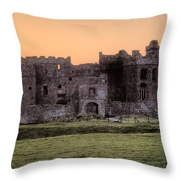 Carew Castle Coral Sunset Throw Pillow by Steve Purnell