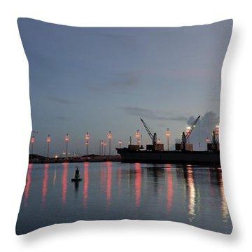 Cargo Port At Dawn Throw Pillow