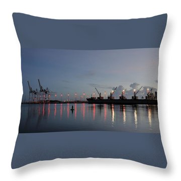 Cargo Port At Dawn Throw Pillow