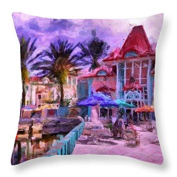 Caribbean Beach Resort Throw Pillow