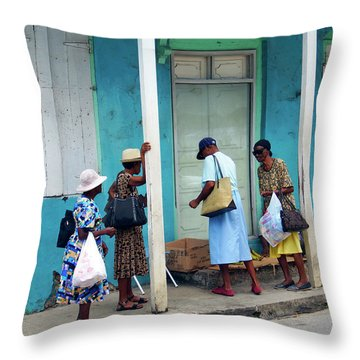 Throw Pillow featuring the photograph Caribbean Blue, Speightstown, Barbados by Kurt Van Wagner