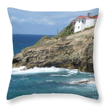 Caribbean Coastal Villa Throw Pillow by Margaret Brooks