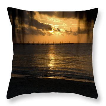 Caribbean Early Sunrise 5 Throw Pillow by Douglas Barnett