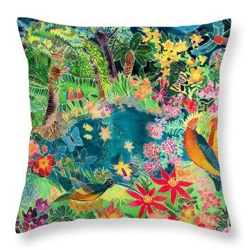 Caribbean Jungle Throw Pillow by Hilary Simon