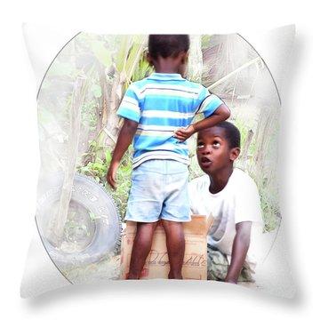 Caribbean Kids Illustration Throw Pillow