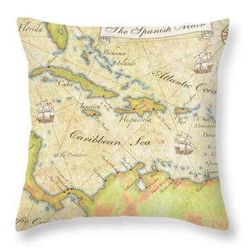 Caribbean Map - Good Throw Pillow by Sample