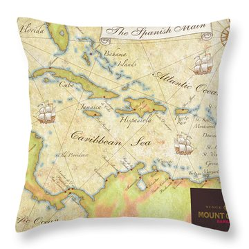Caribbean Map II Throw Pillow by Unknown