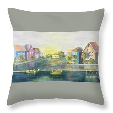 Throw Pillow featuring the painting Caribbean Morning  by Marlene Book