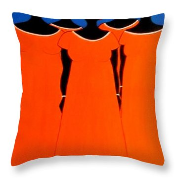 Caribbean Orange Throw Pillow by Stephanie Moore