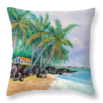Throw Pillow featuring the painting Caribbean Retreat by Susan DeLain