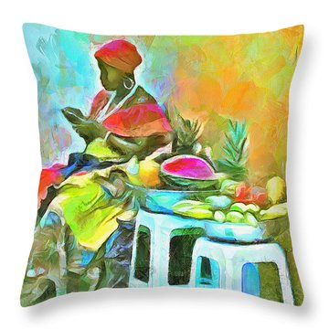 Caribbean Scenes - De Fruit Lady Throw Pillow