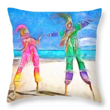 Caribbean Scenes - Moko Jumbie Throw Pillow