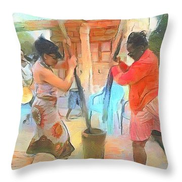 Caribbean Scenes - Mortar And Pestle In De Country Throw Pillow