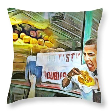Caribbean Scenes - Obama Eats Doubles In Trinidad Throw Pillow