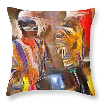 Caribbean Scenes - Pan And Drums Throw Pillow