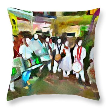 Caribbean Scenes - Pan And Tassa Throw Pillow