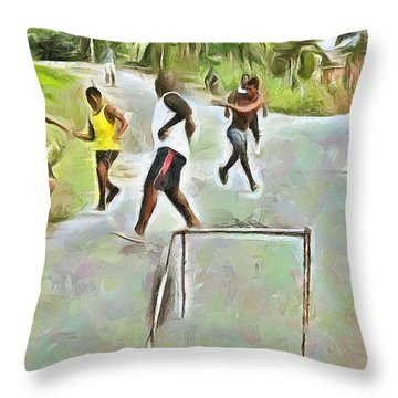 Caribbean Scenes - Small Goal In De Street Throw Pillow