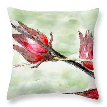 Caribbean Scenes - Sorrel Plant Throw Pillow