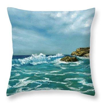 Throw Pillow featuring the painting Caribbean Sea by Anastasiya Malakhova