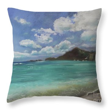 Throw Pillow featuring the pastel Caribbean Sea Day Antigua by Robin Maria Pedrero