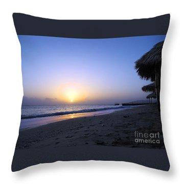 Caribbean Sunrise Throw Pillow by Cedric Hampton