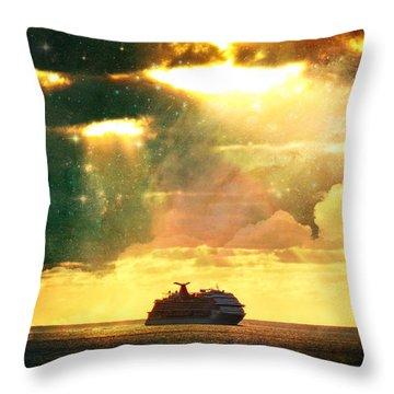 Caribbean Sunset Cloud Art Throw Pillow