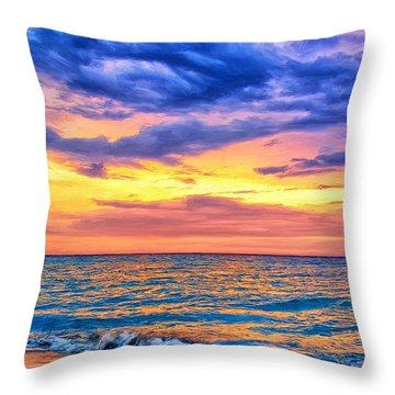 Caribbean Sunset Throw Pillow by Dominic Piperata