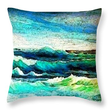 Throw Pillow featuring the painting Caribbean Waves by Holly Martinson