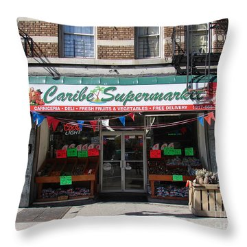 Throw Pillow featuring the photograph Caribe Supermarket by Cole Thompson