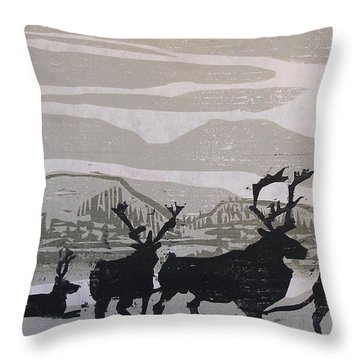 Caribou Yukon Territory  Throw Pillow