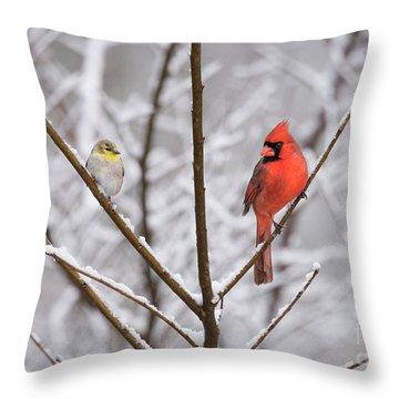 Goldfinch And Cardinal Throw Pillow