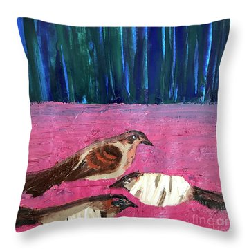 Throw Pillow featuring the painting These Broken Wings by Kim Nelson