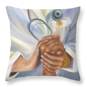Caring A Tradition Of Nursing Throw Pillow by Marlyn Boyd