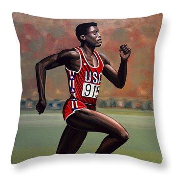 Carl Lewis Throw Pillow