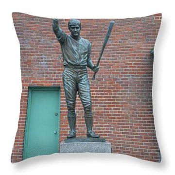 Carl Yastrzemski - Fenway Park Throw Pillow by Bill Cannon