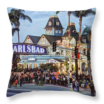 Carlsbad Village Sign Throw Pillow
