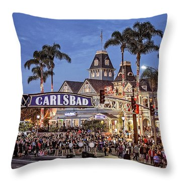 Carlsbad Village Sign Lighting Throw Pillow